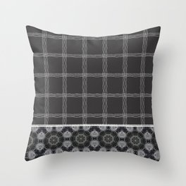 Wavy Plaid Pattern Bla and Grey Mandala Tile Throw Pillow