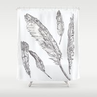 swedish Shower Curtains featuring Swedish Feathers by M.GrondinArt