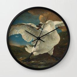 The Threatened Swan by Jan Asselijn Wall Clock