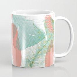 Peach and Turquoise Feathers Coffee Mug