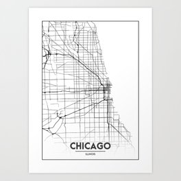 Minimal City Maps - Map Of Chicago, Illinois, United States Art Print