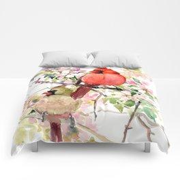 Cardinal Birds and Spring, cardinal bird design Comforters