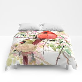 Cardinal Birds and Spring, cardinal bird design Comforters