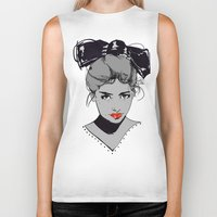 bow Biker Tanks featuring bow by Galvanise The Dog