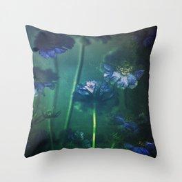 Scabious Blue Throw Pillow