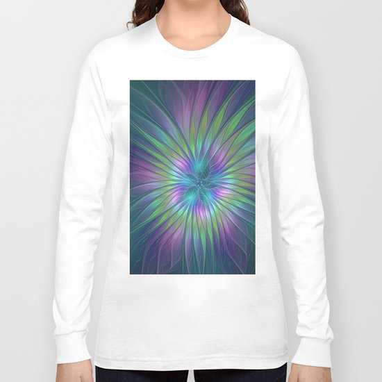 Colorful and luminous Fantasy Flower, Abstract Fractal Art Long Sleeve T-shirt