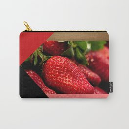 Juicy Strawberries Geometric Shapes & Wood Carry-All Pouch