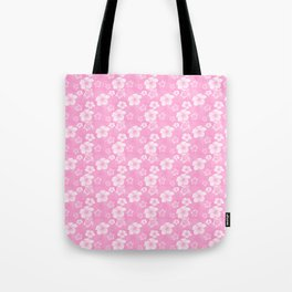 Soft Pink Hibiscus Turtle Hawaiian Pattern Tote Bag