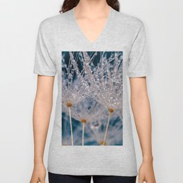 Dandelion Blowball With Morning Dew Macro Close Up Ultra HD Unisex V-Neck