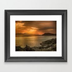 Sunset over Lismore Island of the shores of Oban in the west of Scotland. Framed Art Print