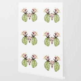 Exotic Tropical Floral Leaves Skull Antlers Wallpaper