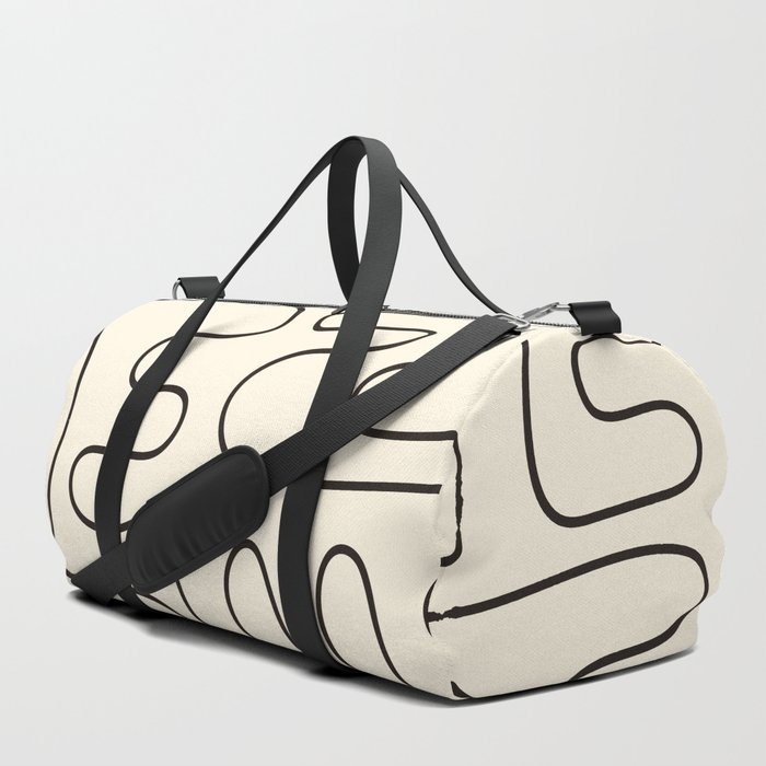 Abstract Lines 2 black and white Duffle Bag