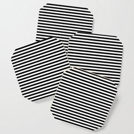 Midnight Black and White Horizontal Deck Chair Stripes Coaster