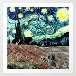 Monet's Poppies with Van Gogh's Starry Night Sky Art Print