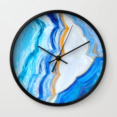 Blue and gold agate Wall Clock