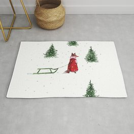 Fox and a sled on a snow day illustration Rug