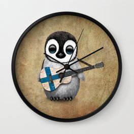 Baby Penguin Playing Finnish Flag Acoustic Guitar Wall Clock