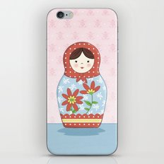 Matryoshka Doll (red & blue) iPhone & iPod Skin