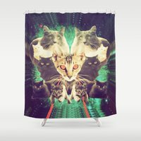 saga Shower Curtains featuring Galactic Cats Saga 1 by Carolina Nino
