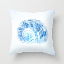 Brilliant Blue Spiral Shell Throw Pillow