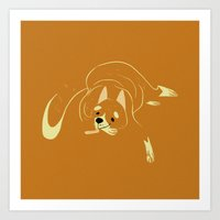 shiba inu Art Prints featuring Shiba Inu by Reimena Ashel Yee