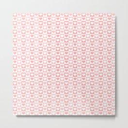 Coral Pink & White Valentines Love Heart Sketch Pattern Metal Print