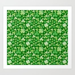 Lucky Green Watercolour Shamrock Pattern Art Print