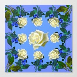 WHITE ROSES BLUE GREEN GARDEN DESIGN PATTERN Canvas Print