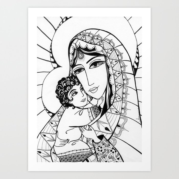 Madonna and Child as Indians Art Print