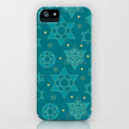 Turquoise and blue-green Jewish star pattern iPhone Case