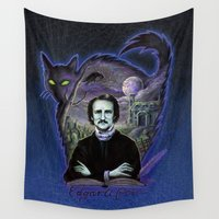edgar allan poe Wall Tapestries featuring Edgar Allan Poe Gothic by Scott Jackson Monsterman Graphic