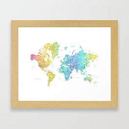 """Rainbow gradient watercolor world map with cities """"Maxwell"""" - SIZES LARGE & XL ONLY Framed Art Print"""