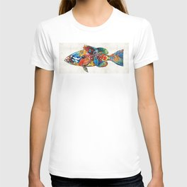 Colorful Grouper Art Fish by Sharon Cummings T-shirt
