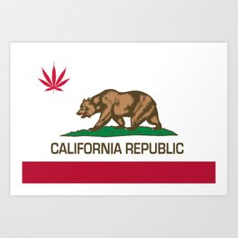 California Republic state flag with red Cannabis leaf Art Print