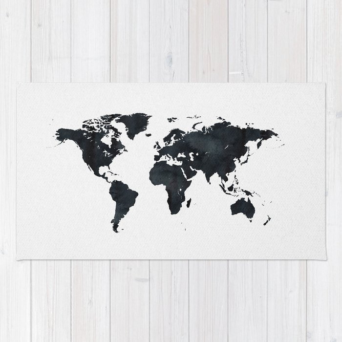 Black And White World Map Rug: World Map In Black And White Ink On Paper Rug By