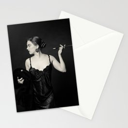 """A Noir Night Out"" - The Playful Pinup - Modern Gothic Twist on Pinup by Maxwell H. Johnson Stationery Cards"