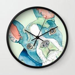 Boston Terrier Watercolor Wall Clock