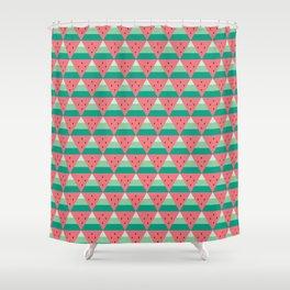 Geometric Summer Watermelon Shower Curtain