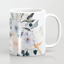 Loose Blue and Peach Floral Watercolor Bouquet  Coffee Mug