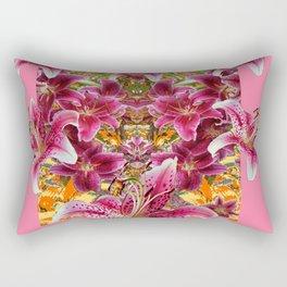 STAR GAZER  LILIES FLORAL MODERN PINK ART Rectangular Pillow