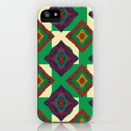 Abstract geometric pattern. Rhombus texture/ Green and violet iPhone Case