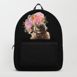 Highland Cow With Flower Crown Black Backpack
