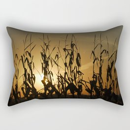 A Lone Row of Corn Stalks at Sunrise Rectangular Pillow