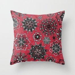 mandala snowflakes red Throw Pillow