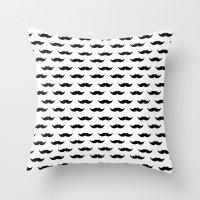 mustache Throw Pillows featuring Mustache by Karen Hofstetter