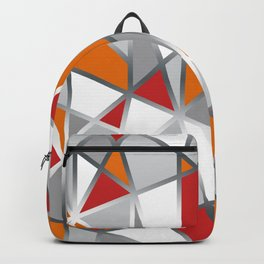 Geometric Shapes in Red, Orange and Gray Backpack