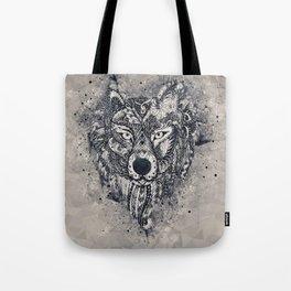 Geometric Wolf Mandala Tote Bag