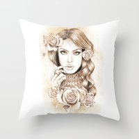 aaliyah Throw Pillows featuring Aaliyah Vintage Art by DejaLiyah