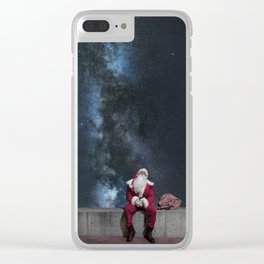 Santa Claus with sack. Magic Christmas Lights. Clear iPhone Case