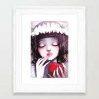 snow Framed Art Prints featuring Snow white by Ludovic Jacqz